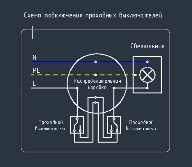 Как подключить проходной выключатель света — схема установки