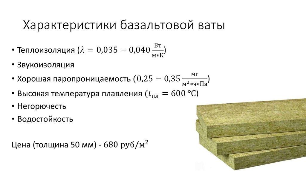 Основные параметры и характеристика базальтового утеплителя