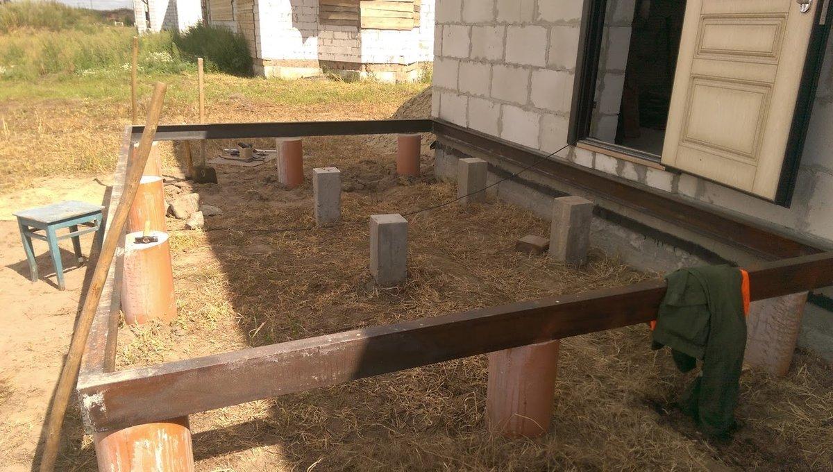 Пошаговая инструкция создания фундамента под веранду