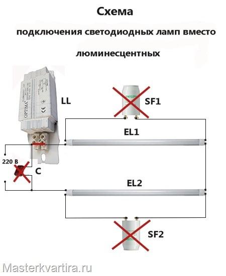 Замена люминесцентных ламп в светильниках на светодиодные
