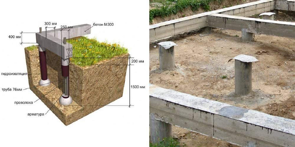 Установка железобетонных свай для фундамента частного дома