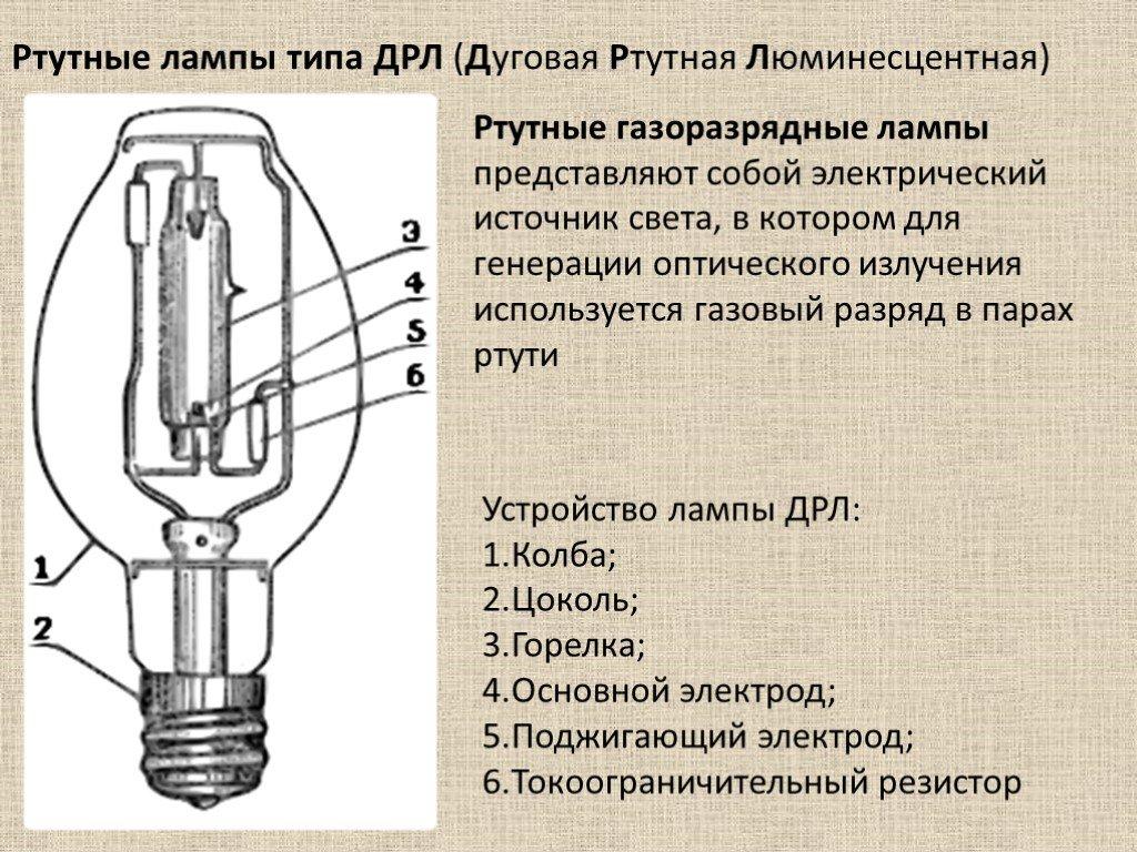 Технические параметры и схемы подключения ламп ДРЛ