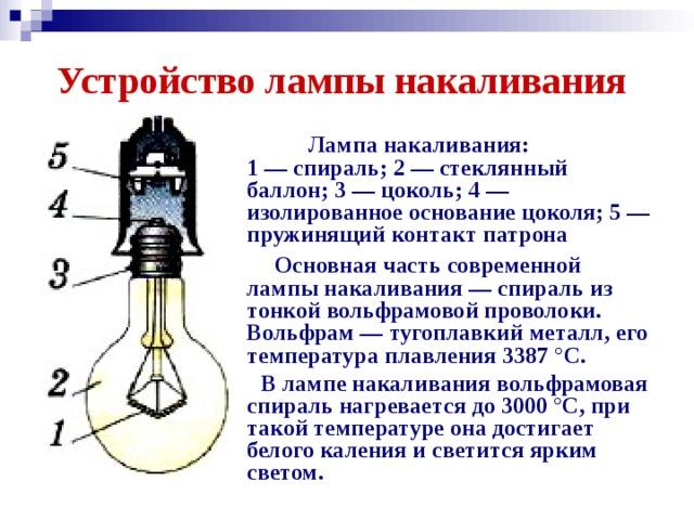 Из чего состоит лампочка накаливания — схема и устройство
