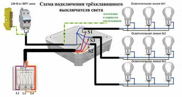 Как подключить трехклавишный выключатель — схема подключения