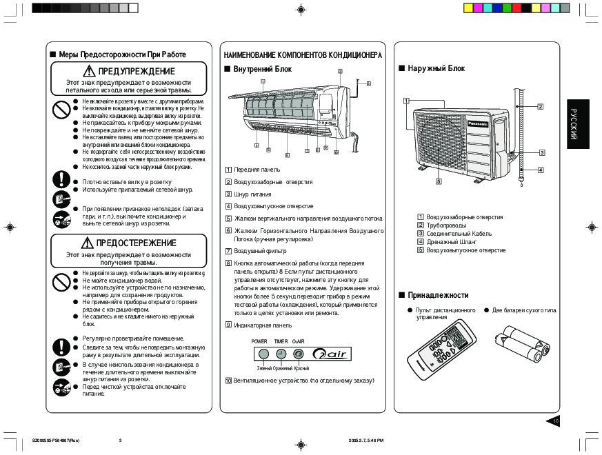Обзор модельного ряда кондиционеров PANASONIC и инструкции к ним