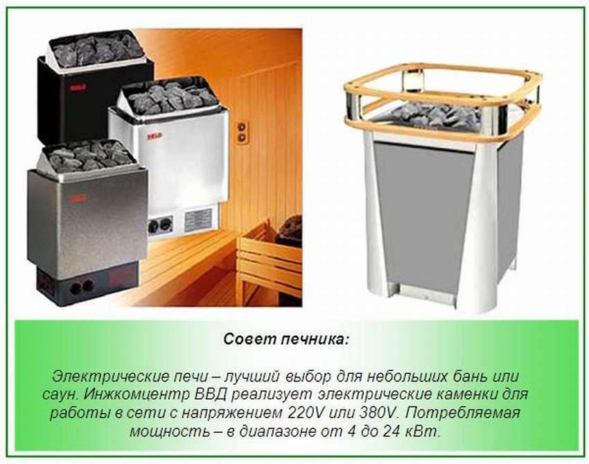 Разновидности электрических печек в баню и сауну