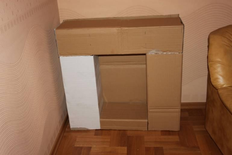 Картонный камин из коробок своими руками