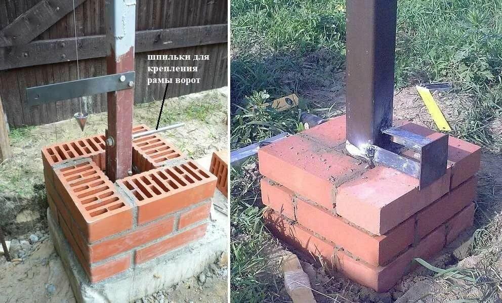 Как сделать закладные для ворот в кирпичном столбе
