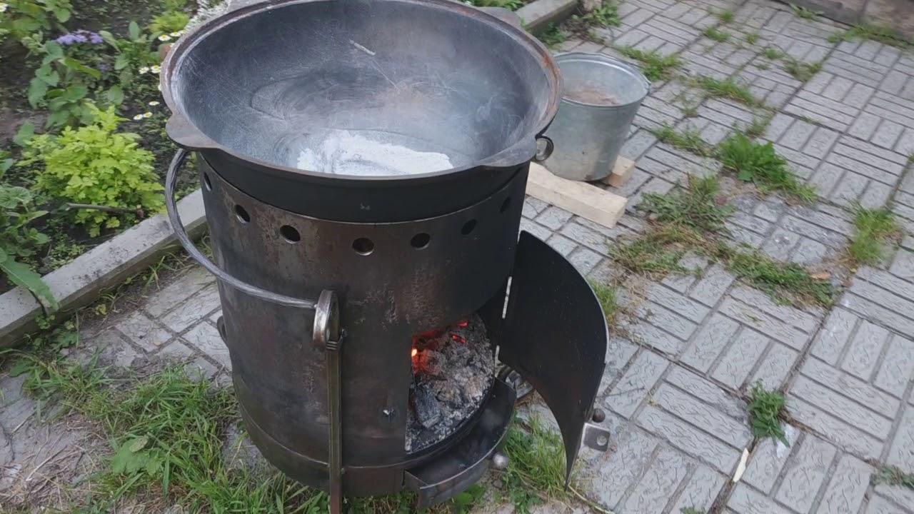 Как сделать печку для казана из газового баллона своими руками