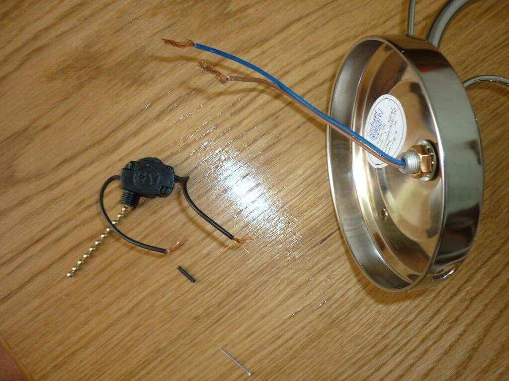 Как подключить светильник с выключателем на веревочке