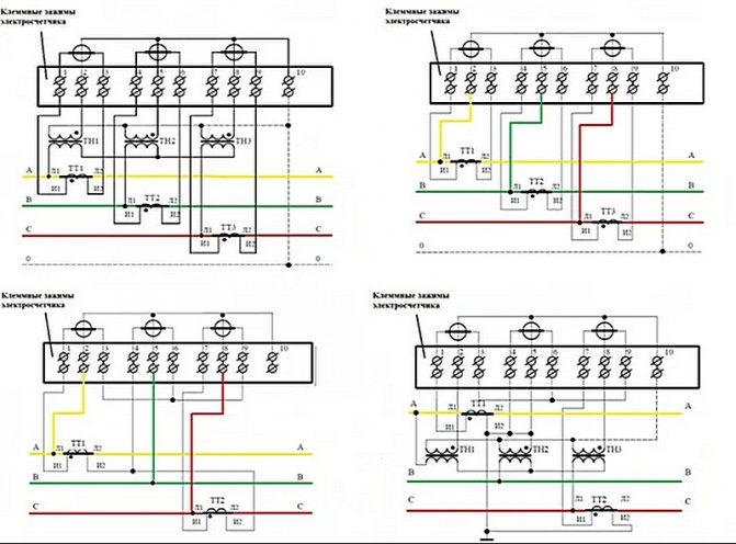 Как подключить трехфазный счетчик через трансформатор тока — схема