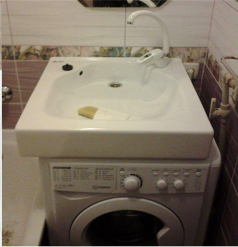 Установка раковины над стиральной машиной