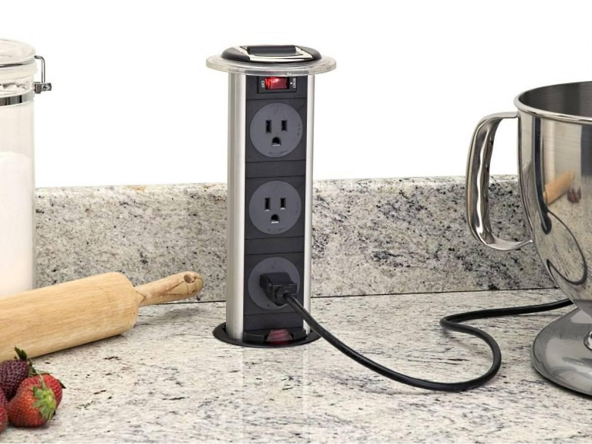 Встраиваемые розетки в столешницу на кухню — особенности установки