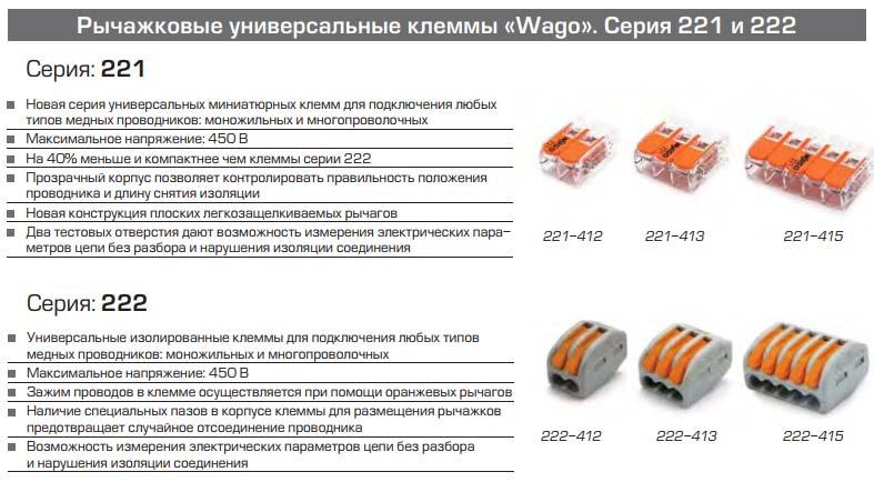 Соединители проводов WAGO — типы, серии и устройство