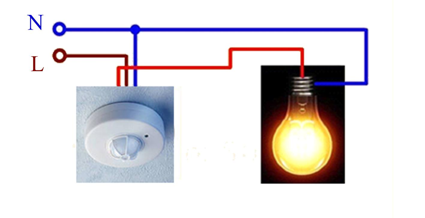 Как подключить датчик движения к лампочке через выключатель