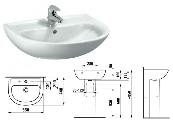 На какой высоте установить раковину (умывальник) в ванной