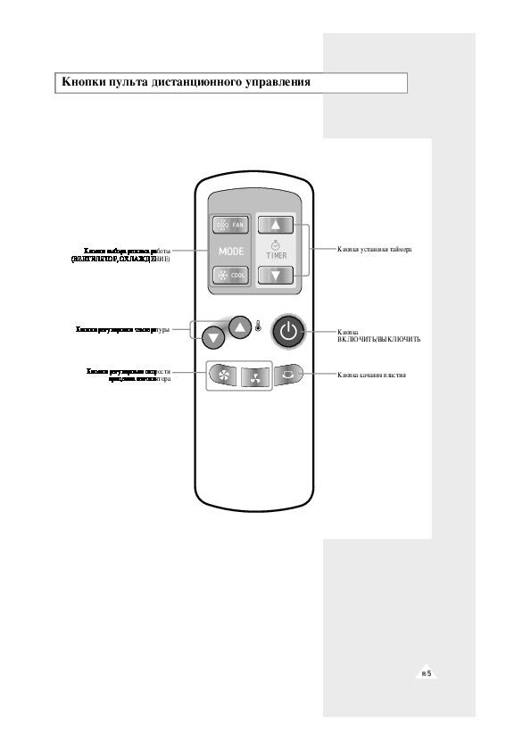 Инструкции к пульту управления и кондиционерам