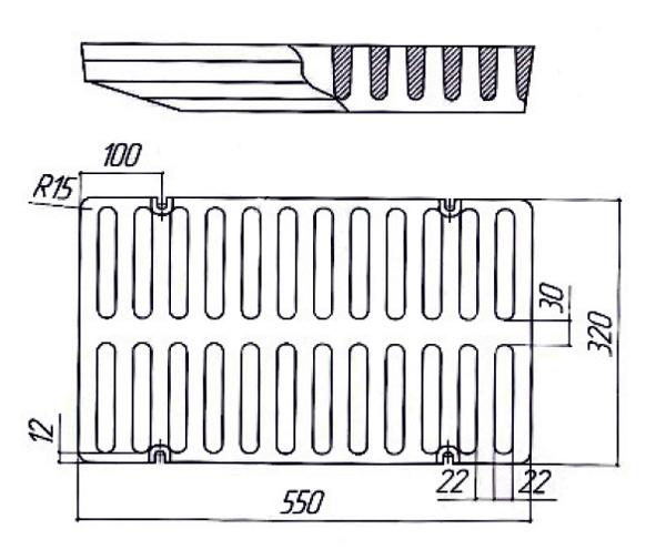 Монтаж чугунной решетки для водоотводного лотка