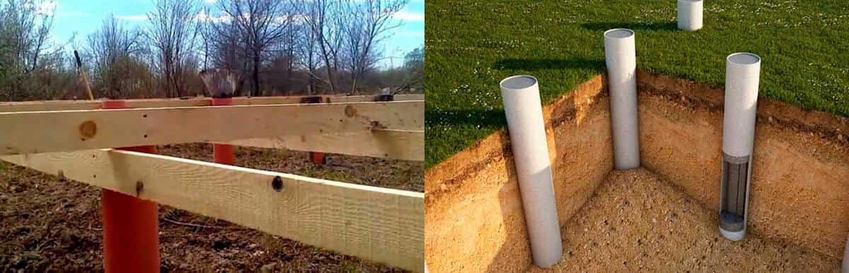 Фундамент из канализационной и пластиковой трубы