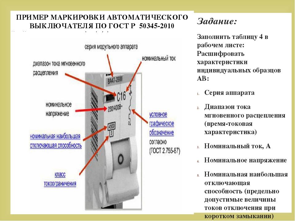 Расшифровка обозначений автоматов в электрощитке
