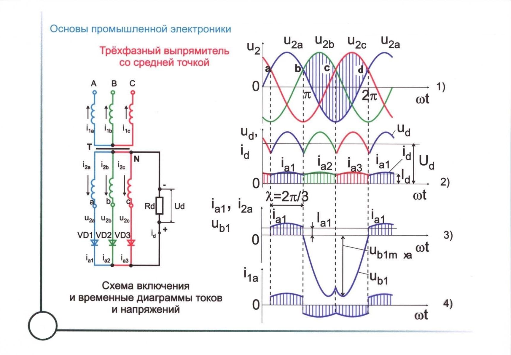 Принцип действия и схема трехфазного мостового выпрямителя
