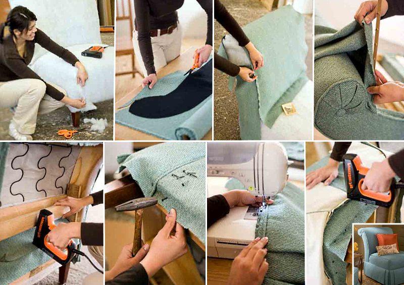 Как перетянуть диван своими руками