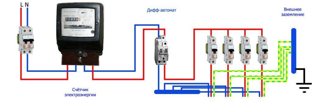 Как подключить дифференциальный автоматический выключатель