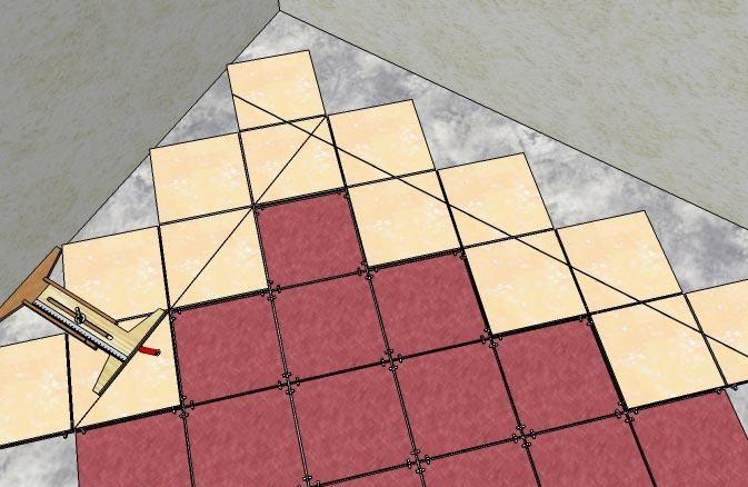 Как правильно диагонально класть плитку на пол