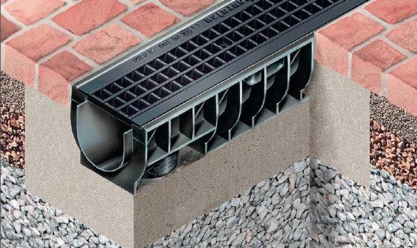 Как установить водоотводный лоток с решеткой