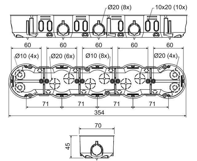 Размеры подрозетников для скрытой проводки